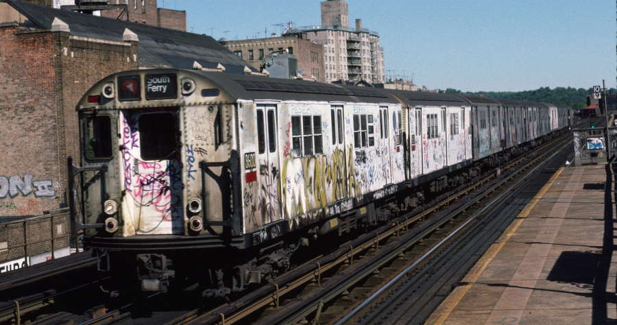 (67k, 900x474)<br><b>Country:</b> United States<br><b>City:</b> New York<br><b>System:</b> New York City Transit<br><b>Line:</b> IRT West Side Line<br><b>Location:</b> 231st Street <br><b>Route:</b> 1<br><b>Car:</b> R-29 (St. Louis, 1962) 8600 <br><b>Photo by:</b> Robert Callahan<br><b>Date:</b> 10/6/1984<br><b>Viewed (this week/total):</b> 3 / 710