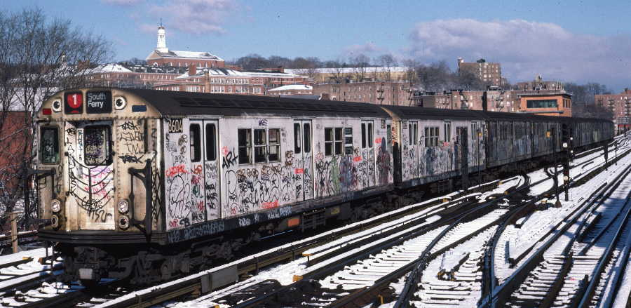 (71k, 900x439)<br><b>Country:</b> United States<br><b>City:</b> New York<br><b>System:</b> New York City Transit<br><b>Line:</b> IRT West Side Line<br><b>Location:</b> 238th Street <br><b>Route:</b> 1<br><b>Car:</b> R-29 (St. Louis, 1962) 8604 <br><b>Photo by:</b> Robert Callahan<br><b>Date:</b> 1/5/1985<br><b>Viewed (this week/total):</b> 4 / 979
