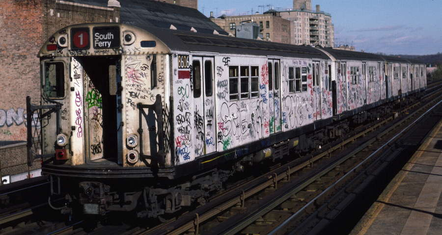 (69k, 900x480)<br><b>Country:</b> United States<br><b>City:</b> New York<br><b>System:</b> New York City Transit<br><b>Line:</b> IRT West Side Line<br><b>Location:</b> 231st Street <br><b>Route:</b> 1<br><b>Car:</b> R-29 (St. Louis, 1962) 8606 <br><b>Photo by:</b> Robert Callahan<br><b>Date:</b> 11/17/1984<br><b>Viewed (this week/total):</b> 0 / 370