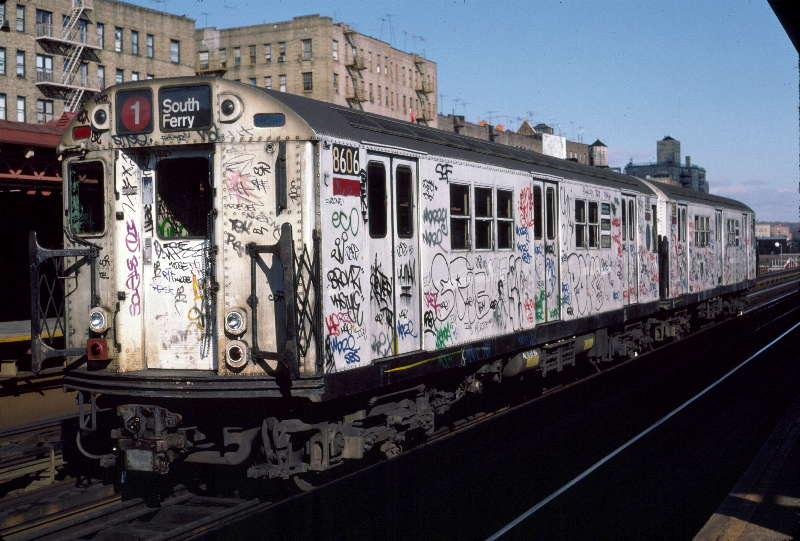 (66k, 800x541)<br><b>Country:</b> United States<br><b>City:</b> New York<br><b>System:</b> New York City Transit<br><b>Line:</b> IRT West Side Line<br><b>Location:</b> 231st Street <br><b>Route:</b> 1<br><b>Car:</b> R-29 (St. Louis, 1962) 8606 <br><b>Photo by:</b> Robert Callahan<br><b>Date:</b> 11/17/1984<br><b>Viewed (this week/total):</b> 6 / 354