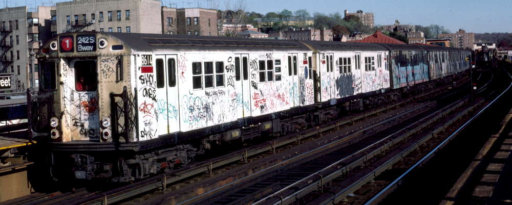 (69k, 1000x402)<br><b>Country:</b> United States<br><b>City:</b> New York<br><b>System:</b> New York City Transit<br><b>Line:</b> IRT West Side Line<br><b>Location:</b> 238th Street <br><b>Route:</b> 1<br><b>Car:</b> R-29 (St. Louis, 1962) 8614 <br><b>Photo by:</b> Robert Callahan<br><b>Date:</b> 11/3/1984<br><b>Viewed (this week/total):</b> 7 / 471