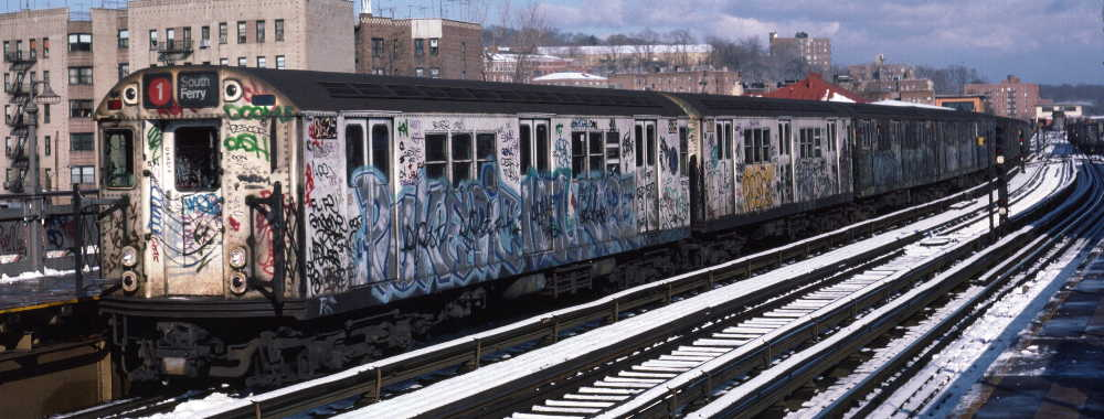 (65k, 1000x380)<br><b>Country:</b> United States<br><b>City:</b> New York<br><b>System:</b> New York City Transit<br><b>Line:</b> IRT West Side Line<br><b>Location:</b> 238th Street <br><b>Route:</b> 1<br><b>Car:</b> R-29 (St. Louis, 1962) 8625 <br><b>Photo by:</b> Robert Callahan<br><b>Date:</b> 1/5/1985<br><b>Viewed (this week/total):</b> 4 / 292