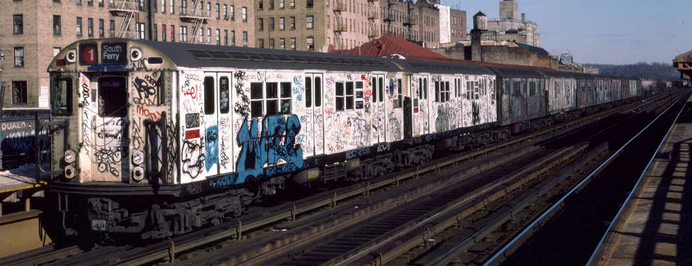 (68k, 1000x385)<br><b>Country:</b> United States<br><b>City:</b> New York<br><b>System:</b> New York City Transit<br><b>Line:</b> IRT West Side Line<br><b>Location:</b> 231st Street <br><b>Route:</b> 1<br><b>Car:</b> R-29 (St. Louis, 1962) 8649 <br><b>Photo by:</b> Robert Callahan<br><b>Date:</b> 1/12/1985<br><b>Viewed (this week/total):</b> 2 / 773
