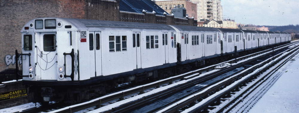 (65k, 1000x378)<br><b>Country:</b> United States<br><b>City:</b> New York<br><b>System:</b> New York City Transit<br><b>Line:</b> IRT West Side Line<br><b>Location:</b> 231st Street <br><b>Route:</b> 1<br><b>Car:</b> R-29 (St. Louis, 1962) 8654 <br><b>Photo by:</b> Robert Callahan<br><b>Date:</b> 1/5/1985<br><b>Viewed (this week/total):</b> 0 / 758