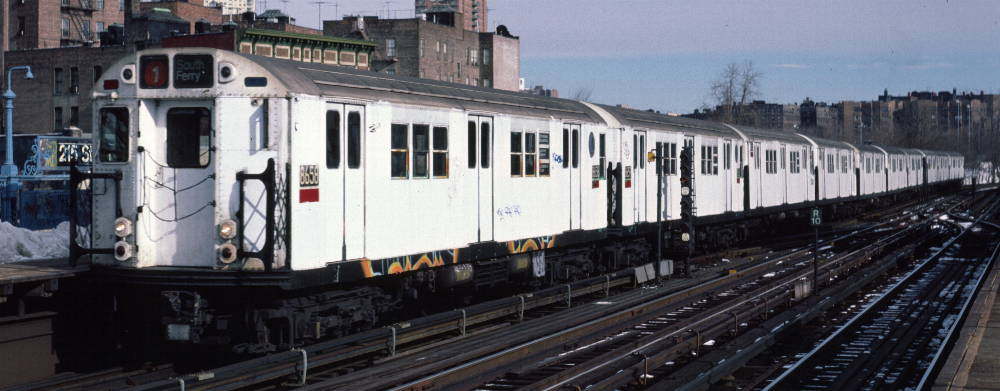 (66k, 1000x391)<br><b>Country:</b> United States<br><b>City:</b> New York<br><b>System:</b> New York City Transit<br><b>Line:</b> IRT West Side Line<br><b>Location:</b> 215th Street <br><b>Route:</b> 1<br><b>Car:</b> R-29 (St. Louis, 1962) 8658 <br><b>Photo by:</b> Robert Callahan<br><b>Date:</b> 2/9/1985<br><b>Viewed (this week/total):</b> 0 / 605