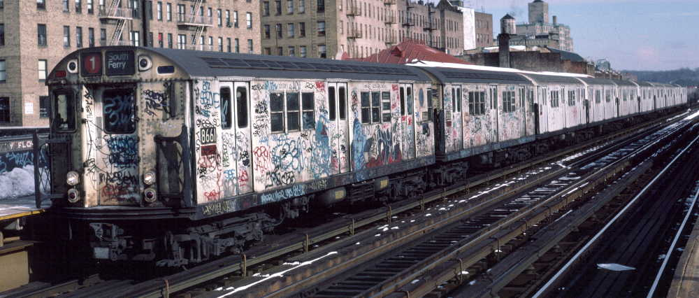 (68k, 1000x426)<br><b>Country:</b> United States<br><b>City:</b> New York<br><b>System:</b> New York City Transit<br><b>Line:</b> IRT West Side Line<br><b>Location:</b> 238th Street <br><b>Route:</b> 1<br><b>Car:</b> R-29 (St. Louis, 1962) 8661 <br><b>Photo by:</b> Robert Callahan<br><b>Date:</b> 2/9/1985<br><b>Viewed (this week/total):</b> 1 / 657