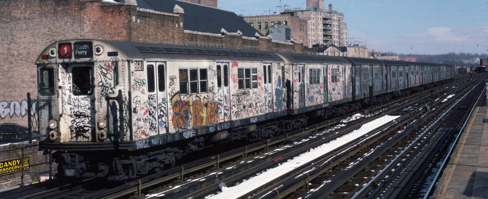 (68k, 1000x409)<br><b>Country:</b> United States<br><b>City:</b> New York<br><b>System:</b> New York City Transit<br><b>Line:</b> IRT West Side Line<br><b>Location:</b> 231st Street <br><b>Route:</b> 1<br><b>Car:</b> R-29 (St. Louis, 1962) 8681 <br><b>Photo by:</b> Robert Callahan<br><b>Date:</b> 2/9/1985<br><b>Viewed (this week/total):</b> 0 / 534
