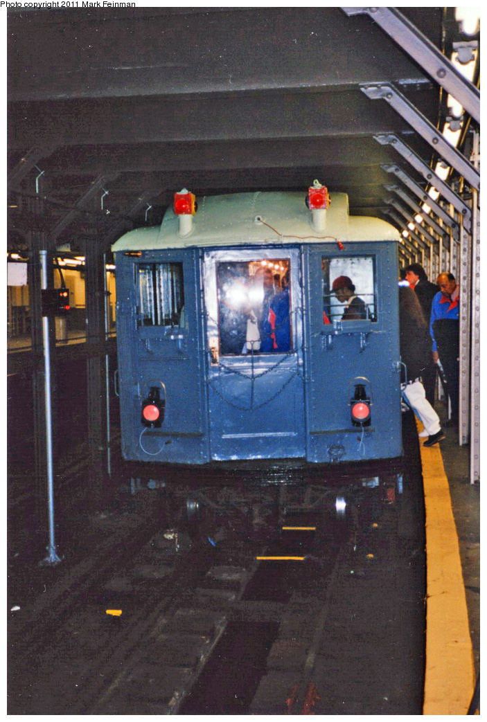 (362k, 703x1043)<br><b>Country:</b> United States<br><b>City:</b> New York<br><b>System:</b> New York City Transit<br><b>Line:</b> IRT Times Square-Grand Central Shuttle<br><b>Location:</b> Times Square <br><b>Route:</b> Fan Trip<br><b>Car:</b> Low-V (Museum Train) 5292 <br><b>Photo by:</b> Mark S. Feinman<br><b>Date:</b> 10/27/1994<br><b>Notes:</b> 90th Anniversary service.<br><b>Viewed (this week/total):</b> 4 / 617