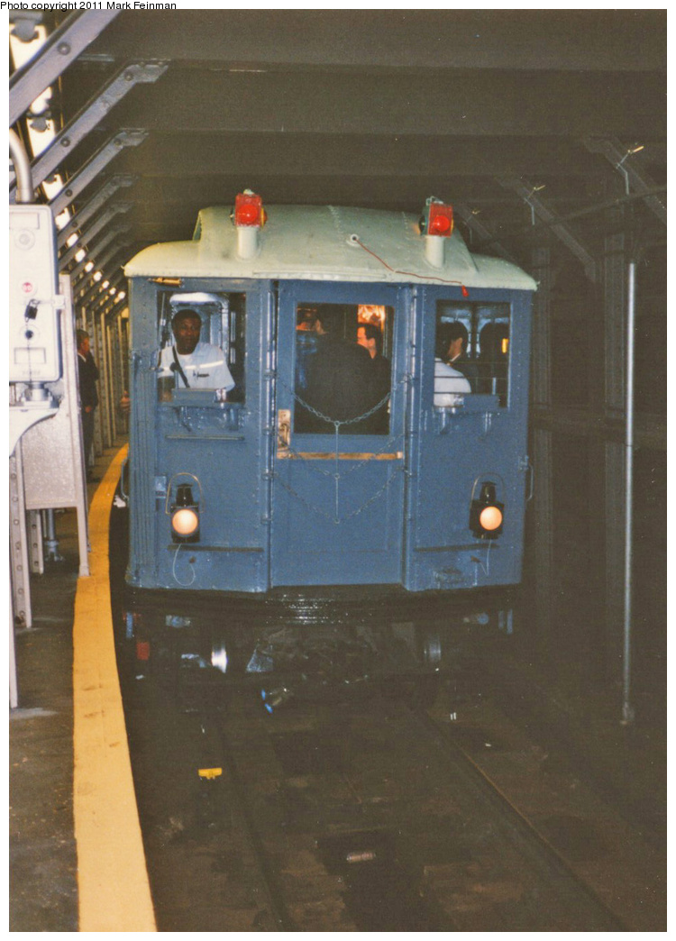 (299k, 750x1044)<br><b>Country:</b> United States<br><b>City:</b> New York<br><b>System:</b> New York City Transit<br><b>Line:</b> IRT Times Square-Grand Central Shuttle<br><b>Location:</b> Times Square <br><b>Route:</b> Fan Trip<br><b>Car:</b> Low-V (Museum Train) 5443 <br><b>Photo by:</b> Mark S. Feinman<br><b>Date:</b> 10/27/1994<br><b>Notes:</b> 90th Anniversary service.<br><b>Viewed (this week/total):</b> 7 / 867