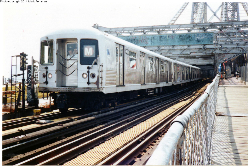 (372k, 1044x702)<br><b>Country:</b> United States<br><b>City:</b> New York<br><b>System:</b> New York City Transit<br><b>Line:</b> BMT Nassau Street/Jamaica Line<br><b>Location:</b> Williamsburg Bridge<br><b>Route:</b> M<br><b>Car:</b> R-42 (St. Louis, 1969-1970)  4690 <br><b>Photo by:</b> Mark S. Feinman<br><b>Date:</b> 7/1994<br><b>Viewed (this week/total):</b> 6 / 454
