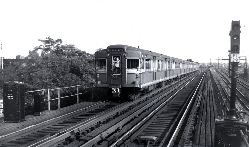 (182k, 1024x608)<br><b>Country:</b> United States<br><b>City:</b> New York<br><b>System:</b> New York City Transit<br><b>Line:</b> BMT Canarsie Line<br><b>Location:</b> Livonia Avenue <br><b>Car:</b> BMT Bluebird 8003 <br><b>Collection of:</b> Frank Pfuhler<br><b>Date:</b> 4/3/1946<br><b>Viewed (this week/total):</b> 7 / 447