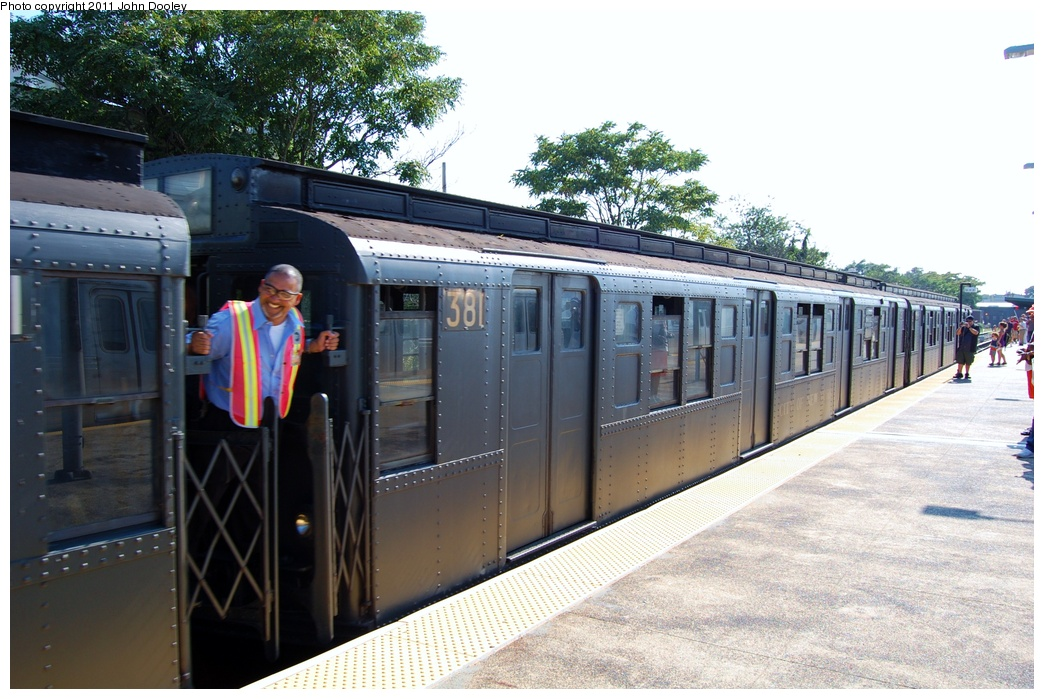 (328k, 1044x699)<br><b>Country:</b> United States<br><b>City:</b> New York<br><b>System:</b> New York City Transit<br><b>Line:</b> IND Rockaway<br><b>Location:</b> Rockaway Park/Beach 116th Street <br><b>Route:</b> Fan Trip<br><b>Car:</b> R-1 (American Car & Foundry, 1930-1931) 381 <br><b>Photo by:</b> John Dooley<br><b>Date:</b> 8/20/2011<br><b>Viewed (this week/total):</b> 0 / 998
