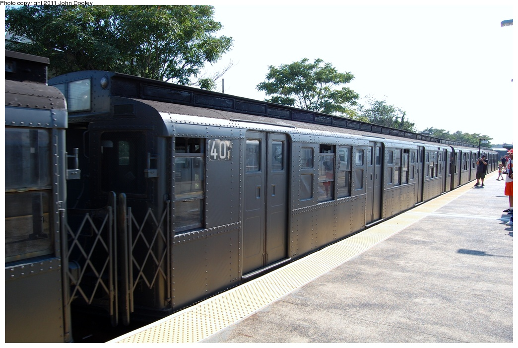 (323k, 1044x701)<br><b>Country:</b> United States<br><b>City:</b> New York<br><b>System:</b> New York City Transit<br><b>Location:</b> Rockaway Park Yard<br><b>Route:</b> Fan Trip<br><b>Car:</b> R-4 (American Car & Foundry, 1932-1933) 401 <br><b>Photo by:</b> John Dooley<br><b>Date:</b> 8/20/2011<br><b>Viewed (this week/total):</b> 0 / 641