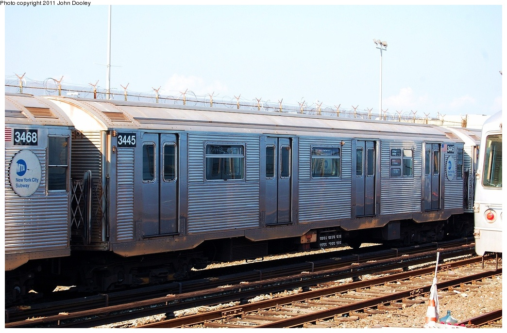 (344k, 1044x687)<br><b>Country:</b> United States<br><b>City:</b> New York<br><b>System:</b> New York City Transit<br><b>Location:</b> Rockaway Park Yard<br><b>Car:</b> R-32 (Budd, 1964)  3445 <br><b>Photo by:</b> John Dooley<br><b>Date:</b> 8/20/2011<br><b>Viewed (this week/total):</b> 0 / 202