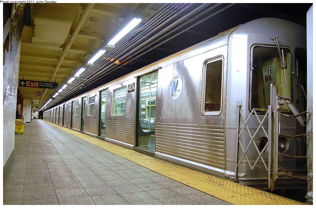 (405k, 1044x687)<br><b>Country:</b> United States<br><b>City:</b> New York<br><b>System:</b> New York City Transit<br><b>Line:</b> IND 8th Avenue Line<br><b>Location:</b> 207th Street <br><b>Route:</b> A<br><b>Car:</b> R-42 (St. Louis, 1969-1970)  4834 <br><b>Photo by:</b> John Dooley<br><b>Date:</b> 8/15/2011<br><b>Viewed (this week/total):</b> 0 / 933