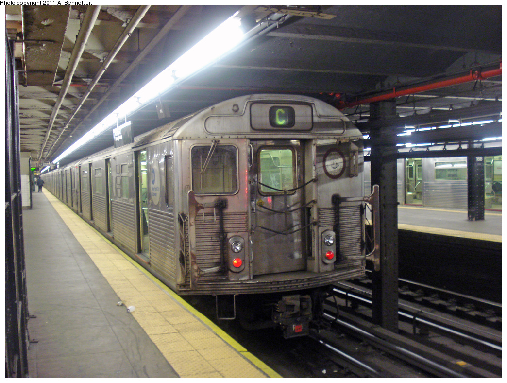 (462k, 1044x788)<br><b>Country:</b> United States<br><b>City:</b> New York<br><b>System:</b> New York City Transit<br><b>Line:</b> IND 8th Avenue Line<br><b>Location:</b> 168th Street <br><b>Route:</b> C<br><b>Car:</b> R-38 (St. Louis, 1966-1967)  4144 <br><b>Photo by:</b> Al Bennett, Jr.<br><b>Date:</b> 7/12/2008<br><b>Viewed (this week/total):</b> 3 / 603
