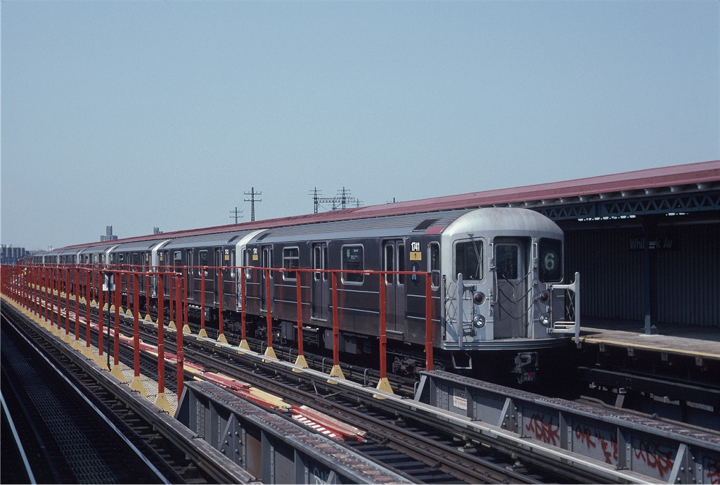 (180k, 1024x690)<br><b>Country:</b> United States<br><b>City:</b> New York<br><b>System:</b> New York City Transit<br><b>Line:</b> IRT Pelham Line<br><b>Location:</b> Whitlock Avenue <br><b>Route:</b> 6<br><b>Car:</b> R-62A (Bombardier, 1984-1987)  1741 <br><b>Photo by:</b> Eric Oszustowicz<br><b>Collection of:</b> Joe Testagrose<br><b>Date:</b> 6/8/1996<br><b>Viewed (this week/total):</b> 2 / 629