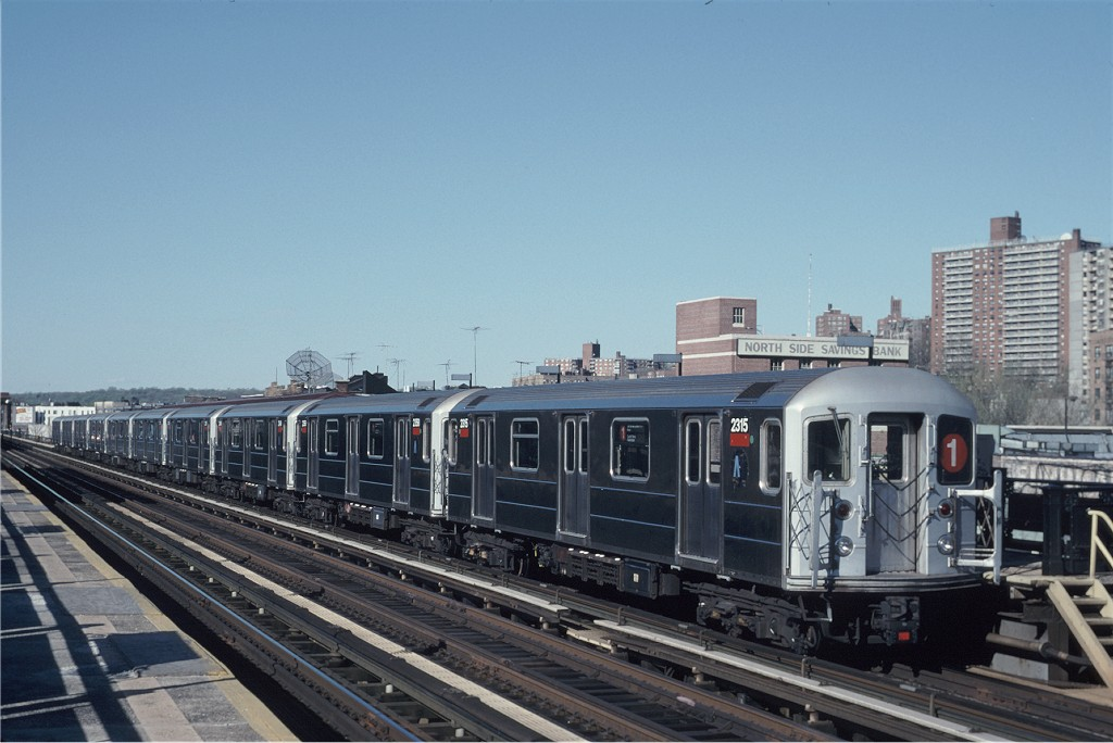 (165k, 1024x684)<br><b>Country:</b> United States<br><b>City:</b> New York<br><b>System:</b> New York City Transit<br><b>Line:</b> IRT West Side Line<br><b>Location:</b> 231st Street <br><b>Route:</b> 1<br><b>Car:</b> R-62A (Bombardier, 1984-1987)  2315 <br><b>Photo by:</b> Eric Oszustowicz<br><b>Collection of:</b> Joe Testagrose<br><b>Date:</b> 4/27/1996<br><b>Viewed (this week/total):</b> 0 / 508