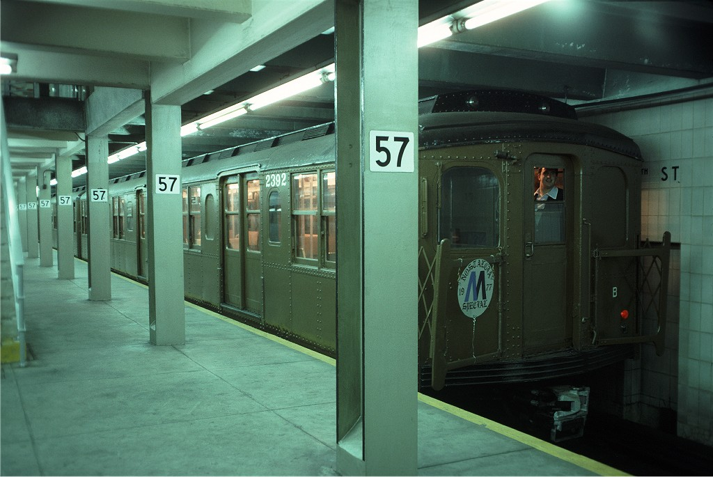 (171k, 1024x685)<br><b>Country:</b> United States<br><b>City:</b> New York<br><b>System:</b> New York City Transit<br><b>Line:</b> IND 6th Avenue Line<br><b>Location:</b> 57th Street <br><b>Route:</b> Fan Trip<br><b>Car:</b> BMT A/B-Type Standard 2392 <br><b>Photo by:</b> Doug Grotjahn<br><b>Collection of:</b> Joe Testagrose<br><b>Date:</b> 6/5/1977<br><b>Viewed (this week/total):</b> 0 / 354