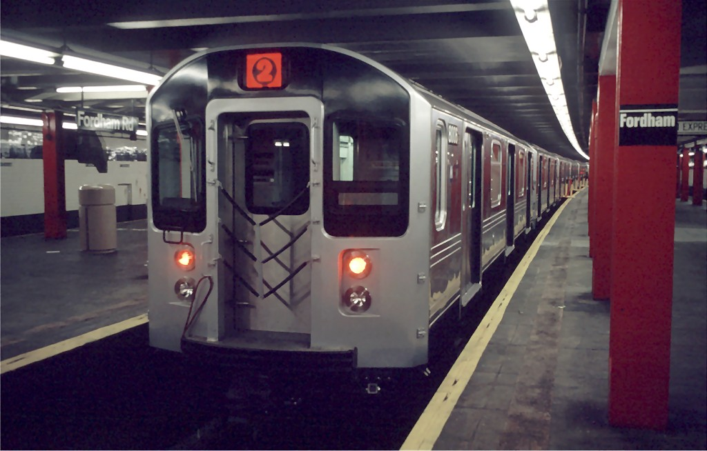 (134k, 1024x654)<br><b>Country:</b> United States<br><b>City:</b> New York<br><b>System:</b> New York City Transit<br><b>Line:</b> IND Concourse Line<br><b>Location:</b> Fordham Road <br><b>Car:</b> R-110A (Kawasaki, 1992) 8006 <br><b>Photo by:</b> Doug Grotjahn<br><b>Collection of:</b> Joe Testagrose<br><b>Date:</b> 12/12/1992<br><b>Viewed (this week/total):</b> 2 / 3118