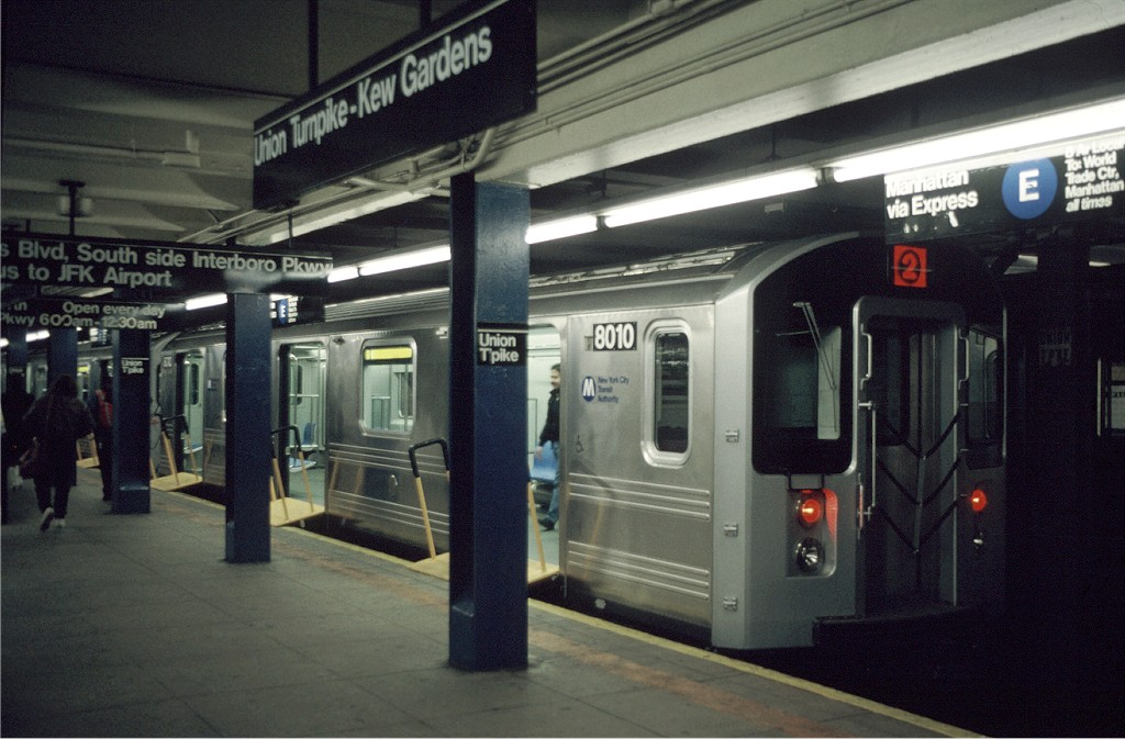 (176k, 1024x673)<br><b>Country:</b> United States<br><b>City:</b> New York<br><b>System:</b> New York City Transit<br><b>Line:</b> IND Queens Boulevard Line<br><b>Location:</b> Union Turnpike/Kew Gardens <br><b>Car:</b> R-110A (Kawasaki, 1992) 8010 <br><b>Photo by:</b> Doug Grotjahn<br><b>Collection of:</b> Joe Testagrose<br><b>Date:</b> 12/5/1992<br><b>Viewed (this week/total):</b> 0 / 3004