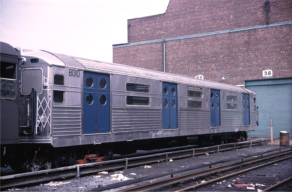 (243k, 1024x673)<br><b>Country:</b> United States<br><b>City:</b> New York<br><b>System:</b> New York City Transit<br><b>Location:</b> Coney Island Yard<br><b>Car:</b> R-11 (Budd, 1949) 8010 <br><b>Photo by:</b> Doug Grotjahn<br><b>Collection of:</b> Joe Testagrose<br><b>Viewed (this week/total):</b> 2 / 328
