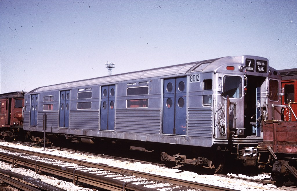(198k, 1024x659)<br><b>Country:</b> United States<br><b>City:</b> New York<br><b>System:</b> New York City Transit<br><b>Location:</b> Coney Island Yard<br><b>Car:</b> R-11 (Budd, 1949) 8012 <br><b>Collection of:</b> Joe Testagrose<br><b>Viewed (this week/total):</b> 4 / 430