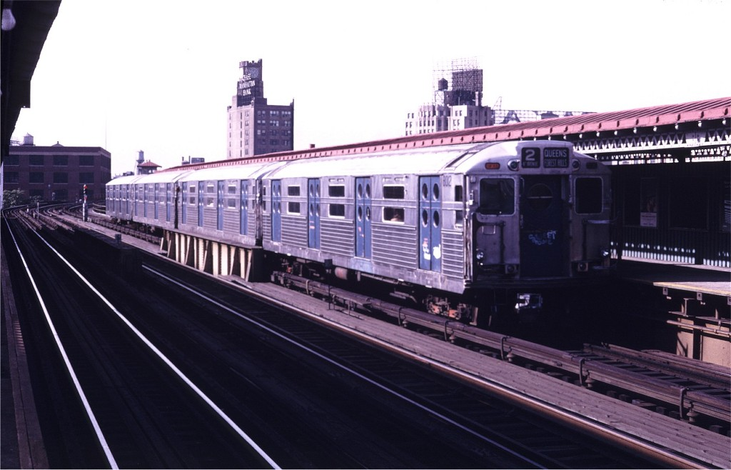 (144k, 1024x658)<br><b>Country:</b> United States<br><b>City:</b> New York<br><b>System:</b> New York City Transit<br><b>Line:</b> BMT Astoria Line<br><b>Location:</b> 39th/Beebe Aves. <br><b>Route:</b> Fan Trip<br><b>Car:</b> R-11 (Budd, 1949) 8012 <br><b>Photo by:</b> Doug Grotjahn<br><b>Collection of:</b> Joe Testagrose<br><b>Date:</b> 10/21/1972<br><b>Viewed (this week/total):</b> 2 / 1014