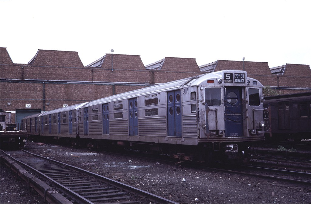 (185k, 1024x674)<br><b>Country:</b> United States<br><b>City:</b> New York<br><b>System:</b> New York City Transit<br><b>Location:</b> Coney Island Yard<br><b>Car:</b> R-11 (Budd, 1949) 8013 <br><b>Photo by:</b> Steve Zabel<br><b>Collection of:</b> Joe Testagrose<br><b>Date:</b> 5/21/1971<br><b>Viewed (this week/total):</b> 3 / 386