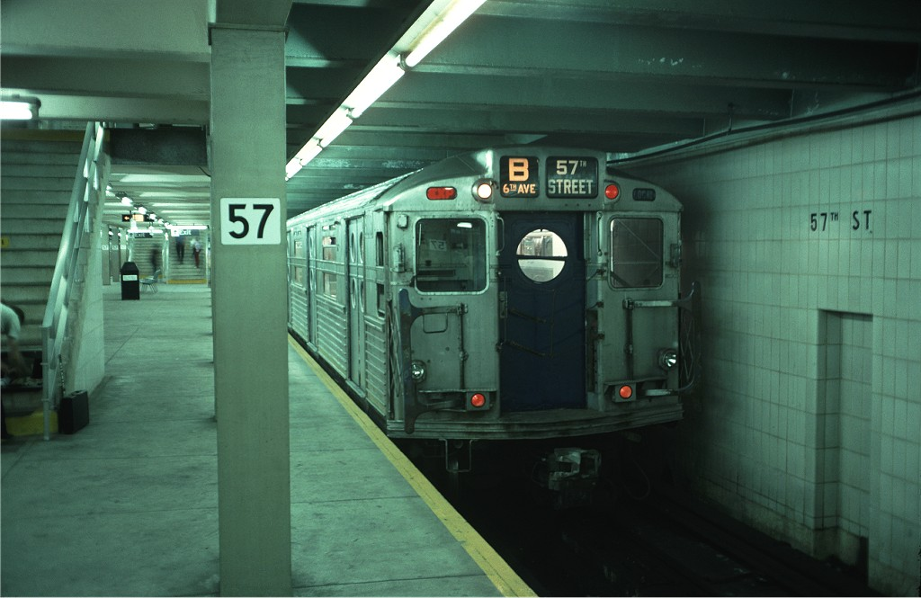 (143k, 1024x665)<br><b>Country:</b> United States<br><b>City:</b> New York<br><b>System:</b> New York City Transit<br><b>Line:</b> IND 6th Avenue Line<br><b>Location:</b> 57th Street <br><b>Route:</b> Fan Trip<br><b>Car:</b> R-11 (Budd, 1949) 8013 <br><b>Photo by:</b> Doug Grotjahn<br><b>Collection of:</b> Joe Testagrose<br><b>Date:</b> 9/21/1975<br><b>Viewed (this week/total):</b> 5 / 754