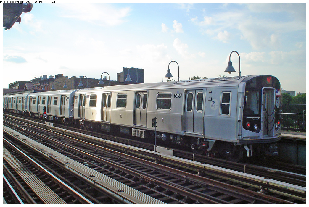 (392k, 1044x700)<br><b>Country:</b> United States<br><b>City:</b> New York<br><b>System:</b> New York City Transit<br><b>Line:</b> BMT Nassau Street/Jamaica Line<br><b>Location:</b> Marcy Avenue <br><b>Route:</b> M<br><b>Car:</b> R-160A-1 (Alstom, 2005-2008, 4 car sets)  8456 <br><b>Photo by:</b> Al Bennett, Jr.<br><b>Date:</b> 7/25/2008<br><b>Viewed (this week/total):</b> 5 / 426