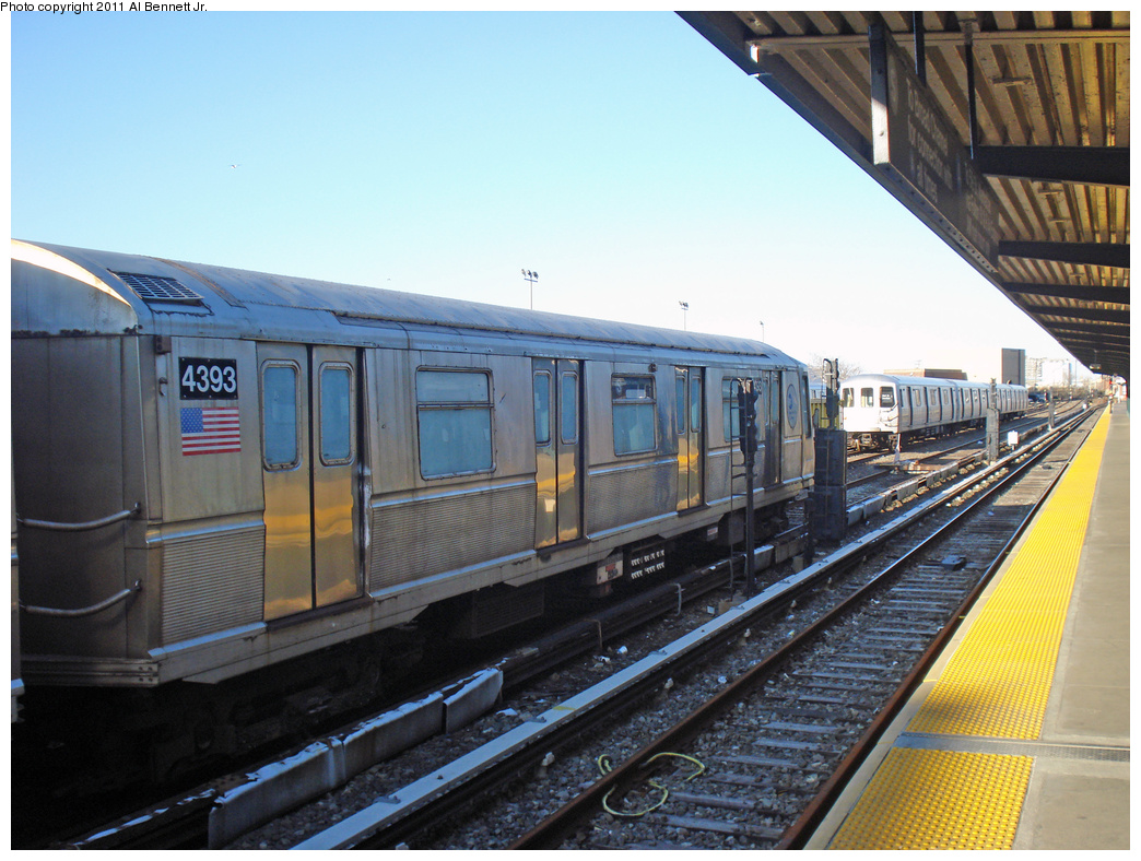 (424k, 1044x788)<br><b>Country:</b> United States<br><b>City:</b> New York<br><b>System:</b> New York City Transit<br><b>Location:</b> Rockaway Park Yard<br><b>Route:</b> School car<br><b>Car:</b> R-40 (St. Louis, 1968)  4393 <br><b>Photo by:</b> Al Bennett, Jr.<br><b>Date:</b> 4/21/2011<br><b>Viewed (this week/total):</b> 0 / 387