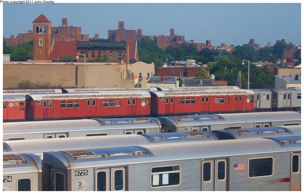 (318k, 1044x667)<br><b>Country:</b> United States<br><b>City:</b> New York<br><b>System:</b> New York City Transit<br><b>Location:</b> Unionport Yard<br><b>Car:</b> R-26 (American Car & Foundry, 1959-60) 7774/7775 <br><b>Photo by:</b> John Dooley<br><b>Date:</b> 6/28/2011<br><b>Viewed (this week/total):</b> 5 / 584