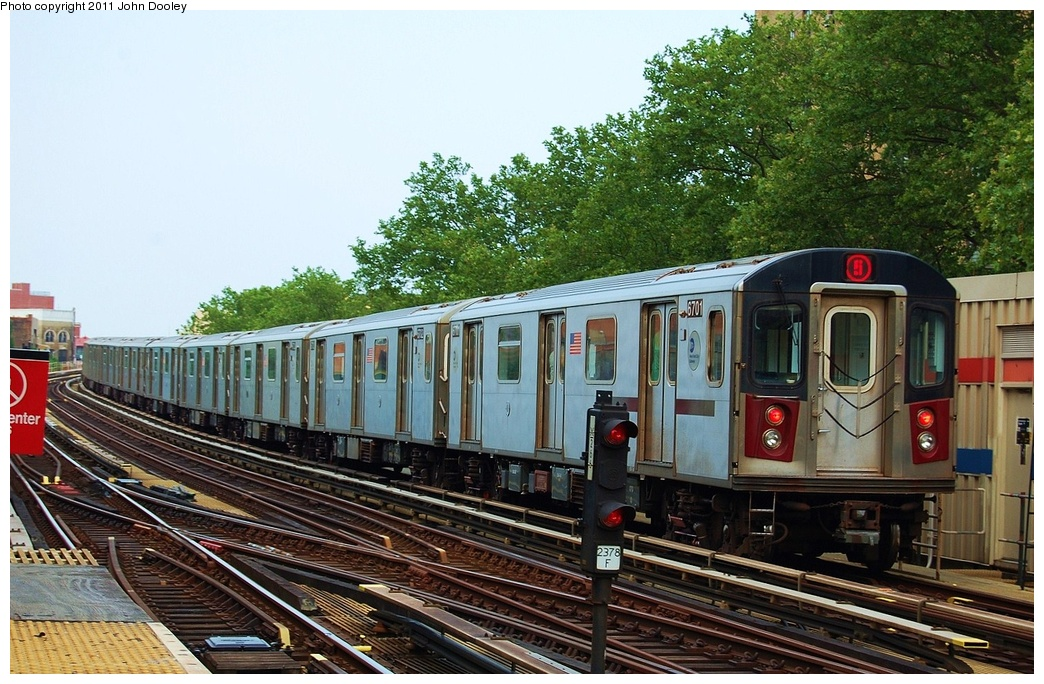 (372k, 1044x684)<br><b>Country:</b> United States<br><b>City:</b> New York<br><b>System:</b> New York City Transit<br><b>Line:</b> IRT White Plains Road Line<br><b>Location:</b> Jackson Avenue <br><b>Route:</b> 2<br><b>Car:</b> R-142 (Primary Order, Bombardier, 1999-2002)  6701 <br><b>Photo by:</b> John Dooley<br><b>Date:</b> 6/28/2011<br><b>Viewed (this week/total):</b> 3 / 326