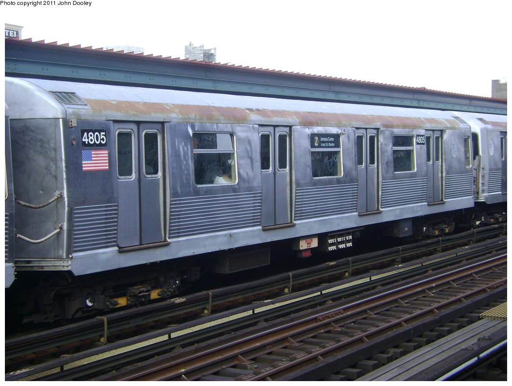 (280k, 1044x788)<br><b>Country:</b> United States<br><b>City:</b> New York<br><b>System:</b> New York City Transit<br><b>Line:</b> BMT Nassau Street/Jamaica Line<br><b>Location:</b> Flushing Avenue <br><b>Route:</b> Z<br><b>Car:</b> R-42 (St. Louis, 1969-1970)  4805 <br><b>Photo by:</b> John Dooley<br><b>Date:</b> 5/24/2011<br><b>Viewed (this week/total):</b> 3 / 232