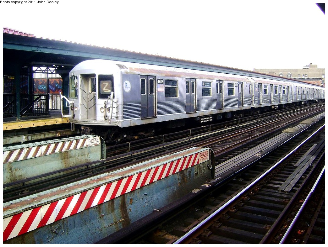 (373k, 1044x788)<br><b>Country:</b> United States<br><b>City:</b> New York<br><b>System:</b> New York City Transit<br><b>Line:</b> BMT Nassau Street/Jamaica Line<br><b>Location:</b> Flushing Avenue <br><b>Route:</b> Z<br><b>Car:</b> R-42 (St. Louis, 1969-1970)  4808 <br><b>Photo by:</b> John Dooley<br><b>Date:</b> 5/24/2011<br><b>Viewed (this week/total):</b> 2 / 731