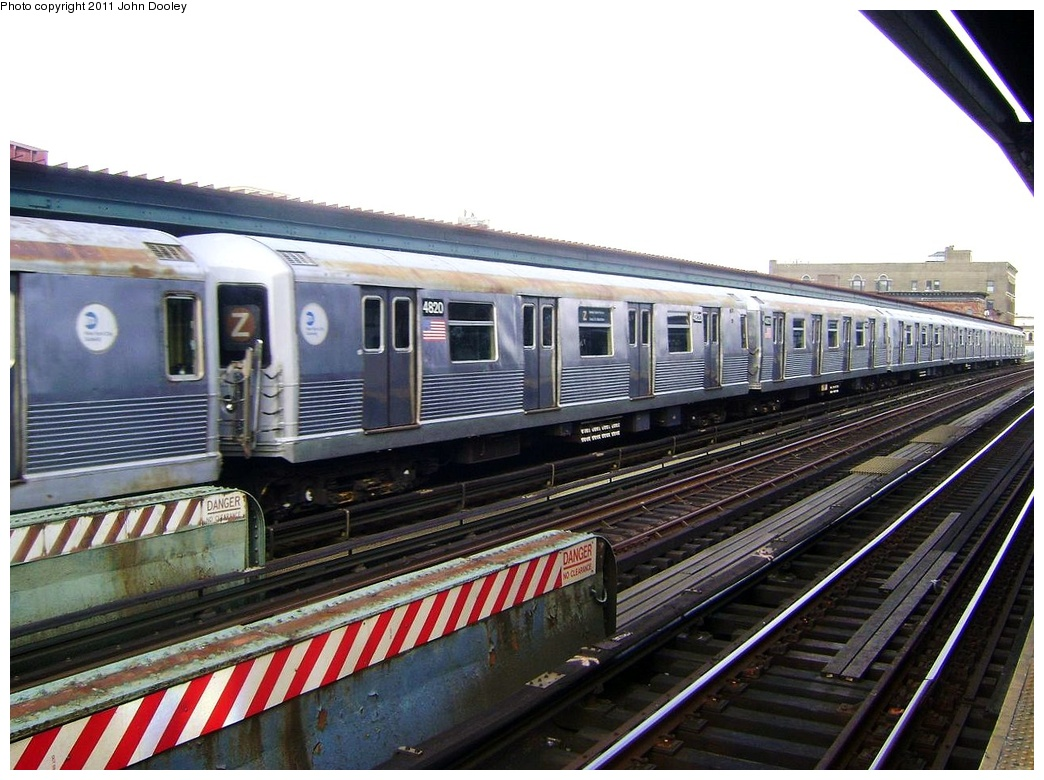 (311k, 1044x780)<br><b>Country:</b> United States<br><b>City:</b> New York<br><b>System:</b> New York City Transit<br><b>Line:</b> BMT Nassau Street/Jamaica Line<br><b>Location:</b> Flushing Avenue <br><b>Route:</b> Z<br><b>Car:</b> R-42 (St. Louis, 1969-1970)  4820 <br><b>Photo by:</b> John Dooley<br><b>Date:</b> 5/24/2011<br><b>Viewed (this week/total):</b> 3 / 637