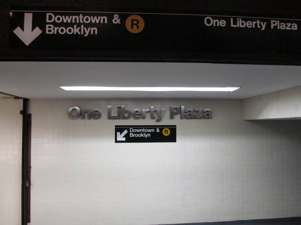 (57k, 1024x768)<br><b>Country:</b> United States<br><b>City:</b> New York<br><b>System:</b> New York City Transit<br><b>Line:</b> BMT Broadway Line<br><b>Location:</b> Cortlandt Street-World Trade Center <br><b>Photo by:</b> Robbie Rosenfeld<br><b>Date:</b> 9/12/2011<br><b>Notes:</b> Entrance at 1 Liberty St.<br><b>Viewed (this week/total):</b> 0 / 1004