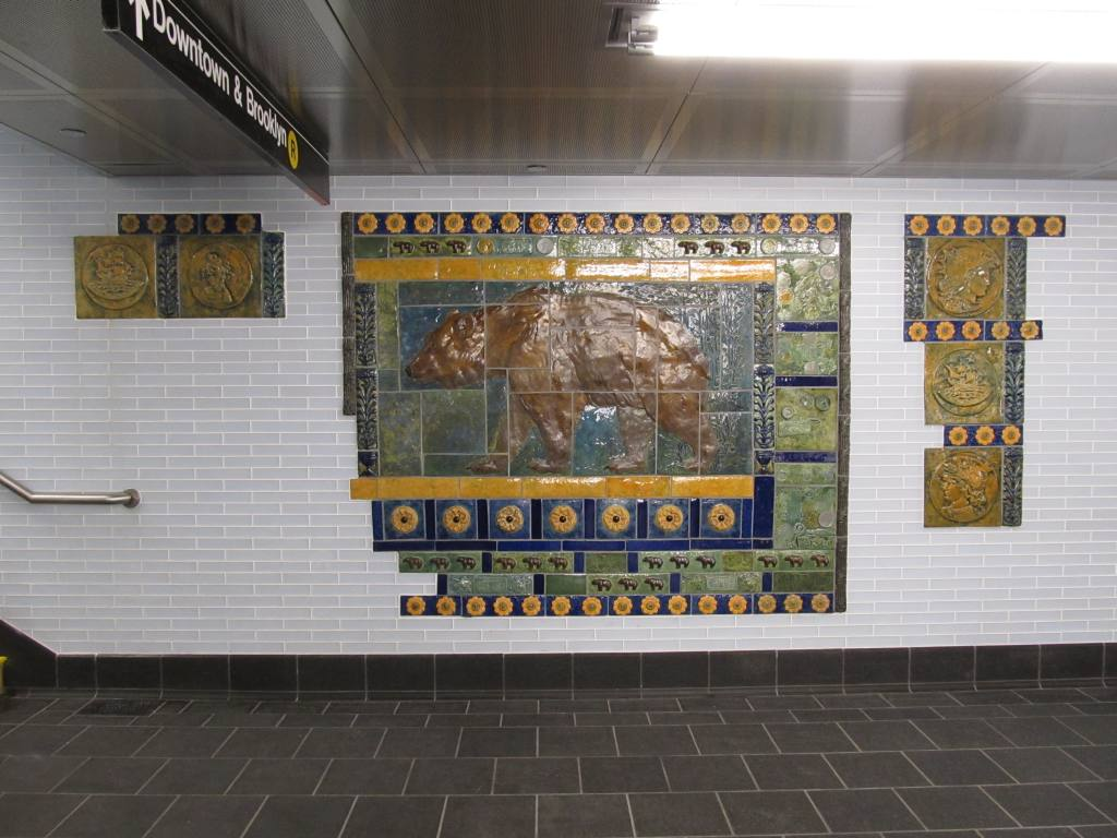 (116k, 1024x768)<br><b>Country:</b> United States<br><b>City:</b> New York<br><b>System:</b> New York City Transit<br><b>Line:</b> BMT Broadway Line<br><b>Location:</b> Cortlandt Street-World Trade Center <br><b>Photo by:</b> Robbie Rosenfeld<br><b>Date:</b> 9/12/2011<br><b>Artwork:</b> <i>Trade, Treasure, and Travel</i>, Margie Hughto (1997).<br><b>Notes:</b> New locations of artwork after station reconstruction.<br><b>Viewed (this week/total):</b> 1 / 246