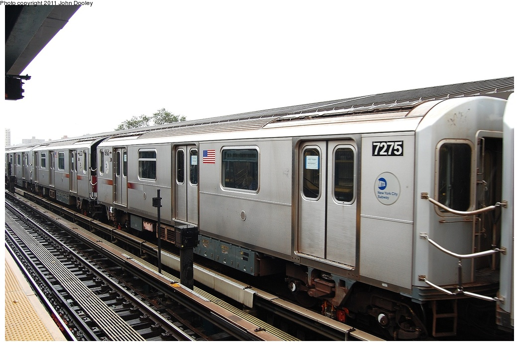 (296k, 1044x697)<br><b>Country:</b> United States<br><b>City:</b> New York<br><b>System:</b> New York City Transit<br><b>Line:</b> IRT Flushing Line<br><b>Location:</b> Willets Point/Mets (fmr. Shea Stadium) <br><b>Route:</b> Testing<br><b>Car:</b> R-188 (R-142A Conversion, Kawasaki, 1999-2002) 7275 <br><b>Photo by:</b> John Dooley<br><b>Date:</b> 9/20/2011<br><b>Viewed (this week/total):</b> 1 / 1171