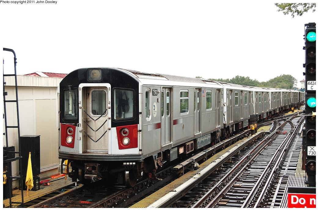(335k, 1044x692)<br><b>Country:</b> United States<br><b>City:</b> New York<br><b>System:</b> New York City Transit<br><b>Line:</b> IRT Flushing Line<br><b>Location:</b> Willets Point/Mets (fmr. Shea Stadium) <br><b>Route:</b> Testing<br><b>Car:</b> R-142A (Primary Order, Kawasaki, 1999-2002)  7510 <br><b>Photo by:</b> John Dooley<br><b>Date:</b> 9/20/2011<br><b>Viewed (this week/total):</b> 3 / 636
