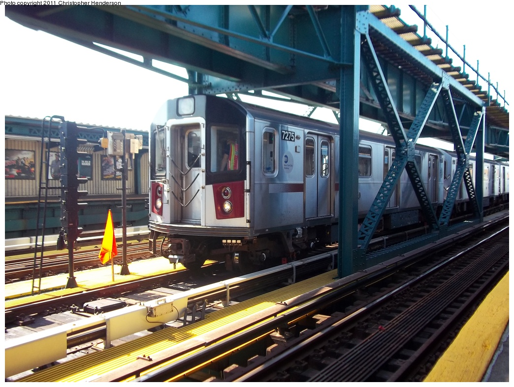 (355k, 1044x788)<br><b>Country:</b> United States<br><b>City:</b> New York<br><b>System:</b> New York City Transit<br><b>Line:</b> IRT Flushing Line<br><b>Location:</b> 111th Street <br><b>Route:</b> Testing<br><b>Car:</b> R-188 (R-142A Conversion, Kawasaki, 1999-2002) 7275 <br><b>Photo by:</b> Christopher Henderson<br><b>Date:</b> 9/30/2011<br><b>Viewed (this week/total):</b> 1 / 1162
