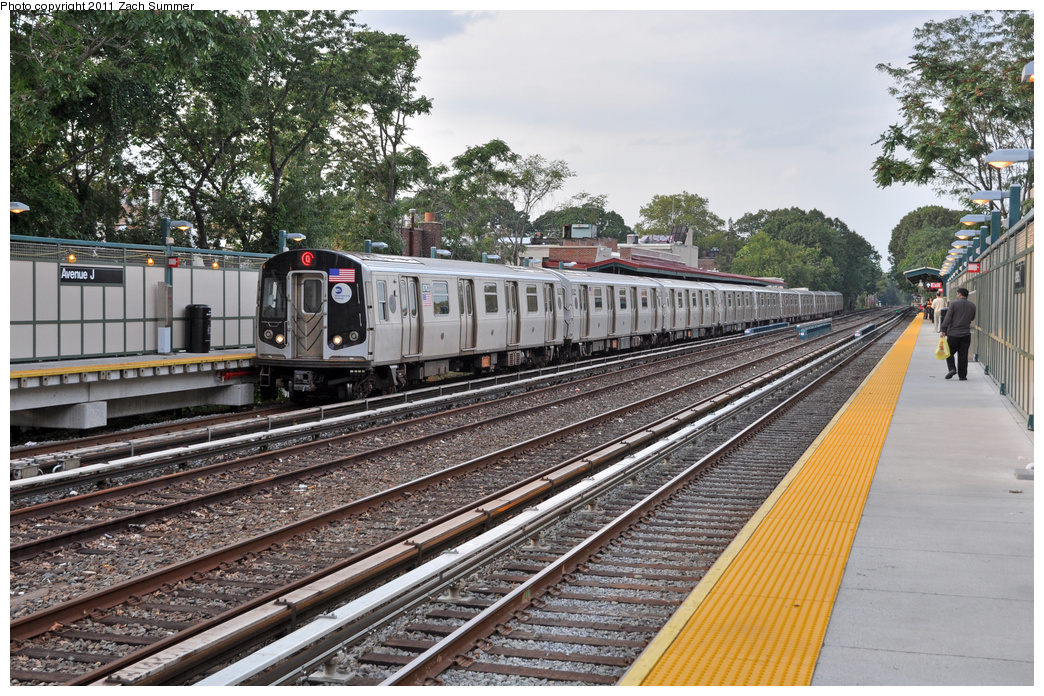 (464k, 1044x696)<br><b>Country:</b> United States<br><b>City:</b> New York<br><b>System:</b> New York City Transit<br><b>Line:</b> BMT Brighton Line<br><b>Location:</b> Avenue J <br><b>Route:</b> Q<br><b>Car:</b> R-160B (Kawasaki, 2005-2008)  8763 <br><b>Photo by:</b> Zach Summer<br><b>Date:</b> 9/30/2011<br><b>Viewed (this week/total):</b> 0 / 662