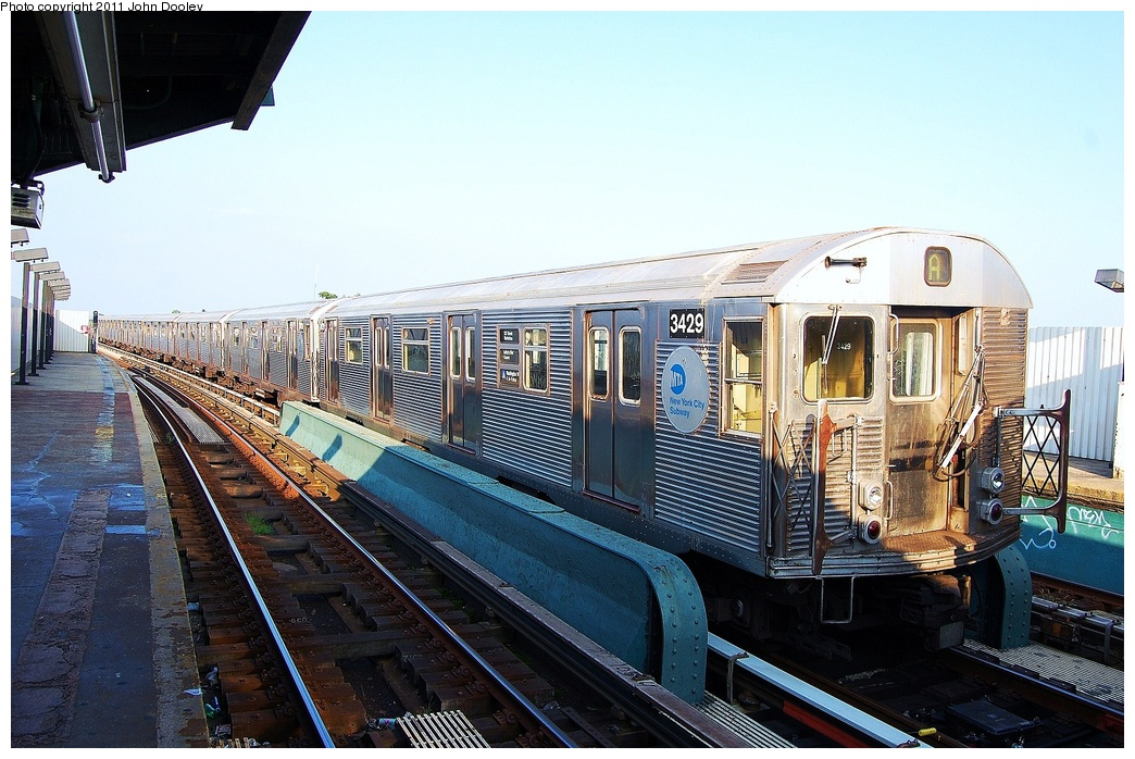 (350k, 1044x698)<br><b>Country:</b> United States<br><b>City:</b> New York<br><b>System:</b> New York City Transit<br><b>Line:</b> IND Fulton Street Line<br><b>Location:</b> 104th Street/Oxford Ave. <br><b>Route:</b> Layup<br><b>Car:</b> R-32 (Budd, 1964)  3429 <br><b>Photo by:</b> John Dooley<br><b>Date:</b> 8/20/2011<br><b>Viewed (this week/total):</b> 2 / 317