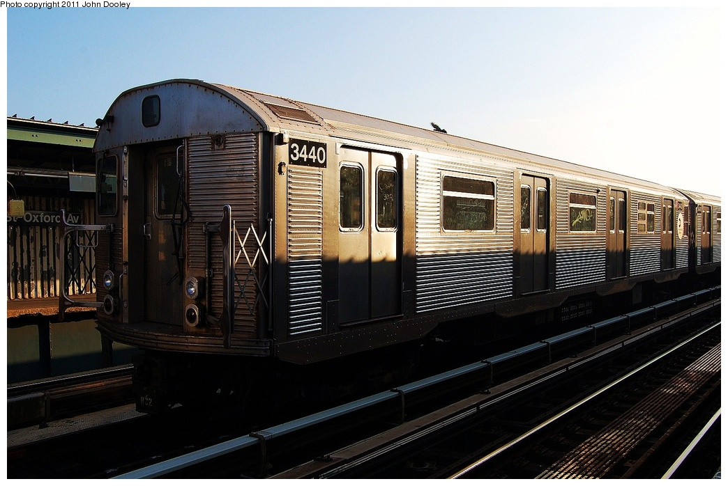(311k, 1044x698)<br><b>Country:</b> United States<br><b>City:</b> New York<br><b>System:</b> New York City Transit<br><b>Line:</b> IND Fulton Street Line<br><b>Location:</b> 104th Street/Oxford Ave. <br><b>Route:</b> Layup<br><b>Car:</b> R-32 (Budd, 1964)  3440 <br><b>Photo by:</b> John Dooley<br><b>Date:</b> 8/20/2011<br><b>Viewed (this week/total):</b> 3 / 233
