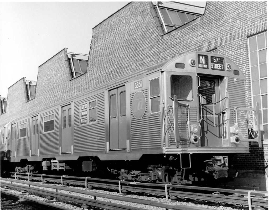 (330k, 1024x800)<br><b>Country:</b> United States<br><b>City:</b> New York<br><b>System:</b> New York City Transit<br><b>Location:</b> Coney Island Yard<br><b>Car:</b> R-32 (Budd, 1964)  3851 <br><b>Photo by:</b> Ed Watson/Arthur Lonto Collection<br><b>Collection of:</b> Frank Pfuhler<br><b>Date:</b> 9/1965<br><b>Viewed (this week/total):</b> 0 / 582