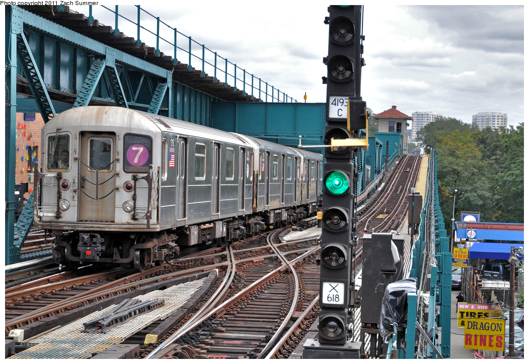 (475k, 1044x719)<br><b>Country:</b> United States<br><b>City:</b> New York<br><b>System:</b> New York City Transit<br><b>Line:</b> IRT Flushing Line<br><b>Location:</b> 111th Street <br><b>Route:</b> 7 Yard Move<br><b>Car:</b> R-62A (Bombardier, 1984-1987)  1715 <br><b>Photo by:</b> Zach Summer<br><b>Date:</b> 10/12/2011<br><b>Viewed (this week/total):</b> 0 / 495