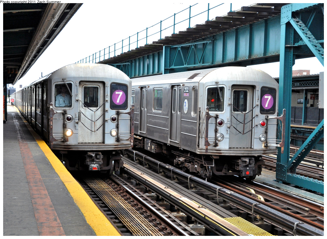 (456k, 1044x763)<br><b>Country:</b> United States<br><b>City:</b> New York<br><b>System:</b> New York City Transit<br><b>Line:</b> IRT Flushing Line<br><b>Location:</b> 111th Street <br><b>Route:</b> 7<br><b>Car:</b> R-62A (Bombardier, 1984-1987)  2084 <br><b>Photo by:</b> Zach Summer<br><b>Date:</b> 10/12/2011<br><b>Notes:</b> With R62A 2132 on the 7 Layup<br><b>Viewed (this week/total):</b> 1 / 551