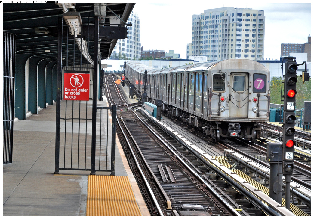 (464k, 1044x731)<br><b>Country:</b> United States<br><b>City:</b> New York<br><b>System:</b> New York City Transit<br><b>Line:</b> IRT Flushing Line<br><b>Location:</b> Willets Point/Mets (fmr. Shea Stadium) <br><b>Route:</b> 7<br><b>Car:</b> R-62A (Bombardier, 1984-1987)   <br><b>Photo by:</b> Zach Summer<br><b>Date:</b> 10/12/2011<br><b>Viewed (this week/total):</b> 2 / 409