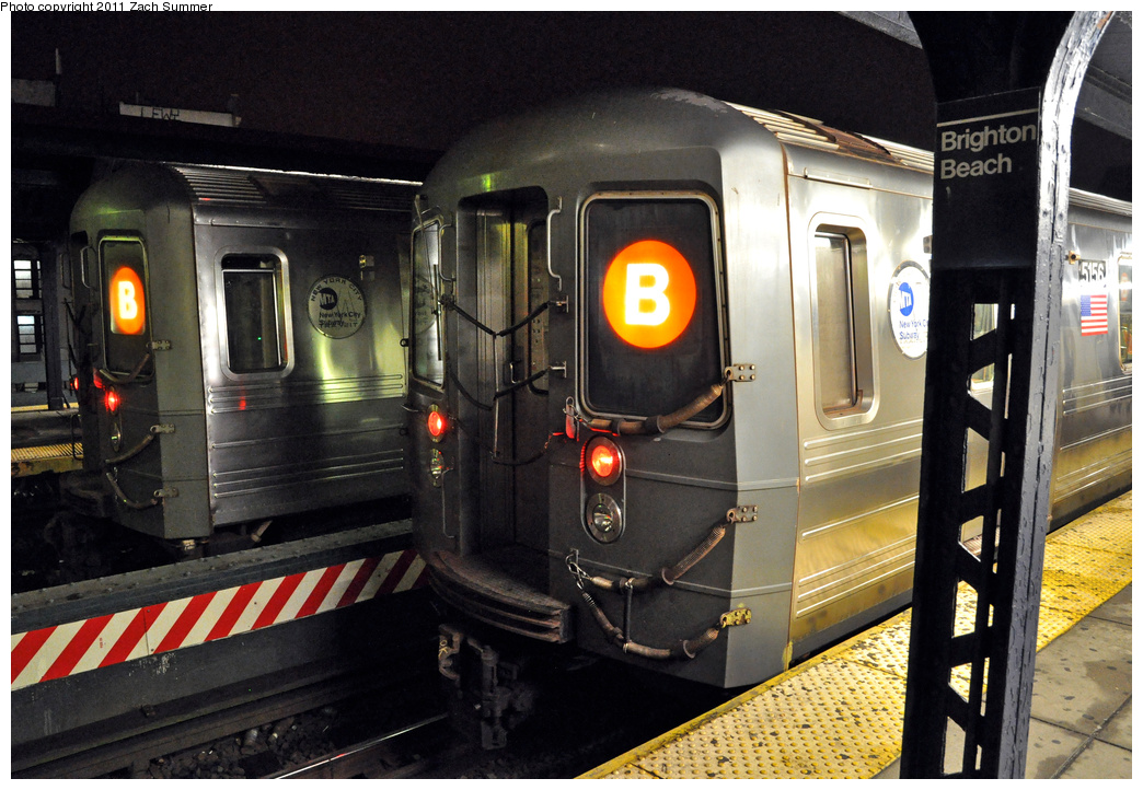 (391k, 1044x722)<br><b>Country:</b> United States<br><b>City:</b> New York<br><b>System:</b> New York City Transit<br><b>Line:</b> BMT Brighton Line<br><b>Location:</b> Brighton Beach <br><b>Route:</b> B<br><b>Car:</b> R-68A (Kawasaki, 1988-1989)  5156 <br><b>Photo by:</b> Zach Summer<br><b>Date:</b> 10/13/2011<br><b>Viewed (this week/total):</b> 3 / 436